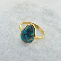 Copper Blue Turquoise Pear 10x14mm Micron Gold Plated 925 Sterling Silver Ring - #1092
