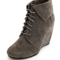 FOLD-OVER COLLAR WEDGE BOOTIE