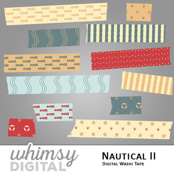 Nautical Digital Washi Tape with Lighthouses, Waves, Starfish, Clams, Life Preservers, Polka Dots, and Stripes in Red, Teal, Orange, Cream