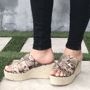 Zelle Snakeskin & Tweed Platform Wedges
