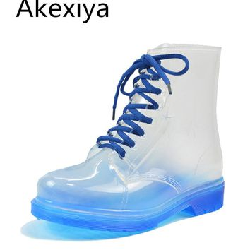 Akexiya 2017 Women Rainboots Transparent Waterproof Colorful Spring Autumn Shoes Rainboot Woman Ankle Boots XWX195