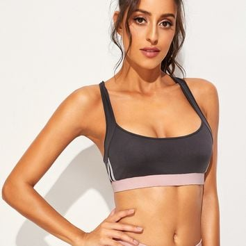 Contrast Panel Criss Cross Back Sports Bra