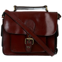 Burgundy Leather Satchel Bag** - Project #1 Collection - Clothing - Miss Selfridge