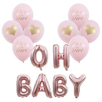 GENDER Reveal Party- OH BABY Balloon Banner | Baby Shower | Rose Gold Letter Balloon | It's A Girl Balloons Decoration Set | Oh Baby Banner