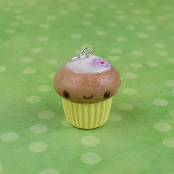 Kawaii Cupcake Charm | Polymer Clay Jewelry | Cute Miniature Sweet Food | Charm Necklace | Gift