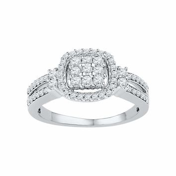 10kt White Gold Womens Round Diamond Cushion-frame Cluster Split-shank Ring 1-2 Cttw