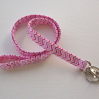 Lanyard ID Badge Holder - NEW THINNER design - Pink Chevron - Lobster clasp and key ring