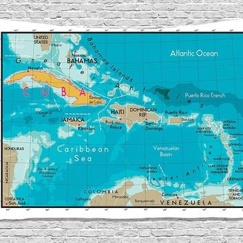 Cuba and Caribbean Map Fabric Wall Tapestry