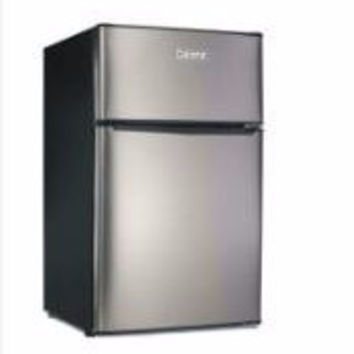 3.1 cu ft Galanz Double-Door Refrigerator, Stainless Look ('Scratch & Dent')