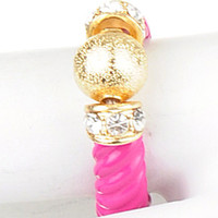 Gold Ball & Crystal Pink Ring