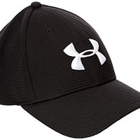 Under Armour Men's Blitzing Stretch Fit Cap, Black/White, L/XL