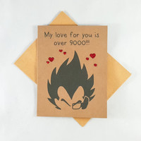 Vegeta, Love Card, Funny Card, Funny Greeting Card, Greeting Cards, Pun Card, Cute Card, Valentine's Card, Kawaii Card, Anime, Over 9000
