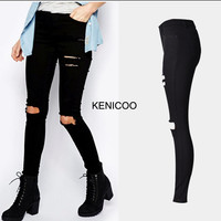 2016 Cotton High Elastic Imitate Jeans Women Jeans Stretch Skinny Pencil Pants Black Color Casual Denim Boyfriend Plus size pant