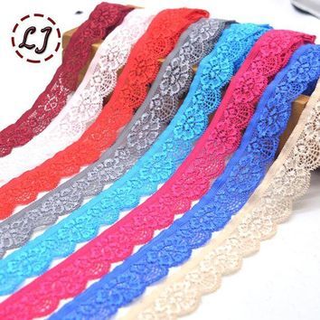 ac VLXC New hot sale 5yd/lot High Quality Elastic Lace Trim ribbon For Sewing crafts underwear decoration lace handmade accessories DIY