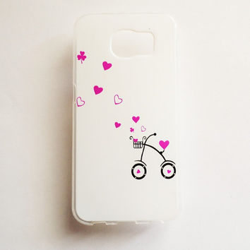 Samsung Galaxy S6 Cute Tricycle Case Soft Plastic Galaxy S6 Back Cute Hearts Love Samsung S6 Cover Funny S6