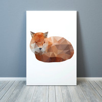 Cute fox print Animal poster Modern art Colorful decor TO182-1