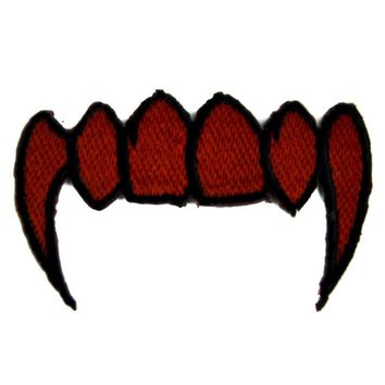 Blood Red Vampire Fangs Patch Iron on Applique the Strain