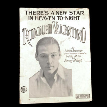 "Vintage Rudolph Valentino Sheet Music ""There's a New Star in Heaven Tonight"" 1920's 1925 Copyright Sheet Music Art Valentino Portrait"