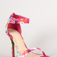 Anne Michelle Watercolor Floral Ankle Strap Open Toe Heel