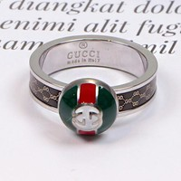 GUCCI New Fashionable Couple Delicate Titanium Steel Ring Accessories Jewelry Silvery