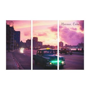 Havana Cuba At Sunset with Vintage Vehicles Canvas Print