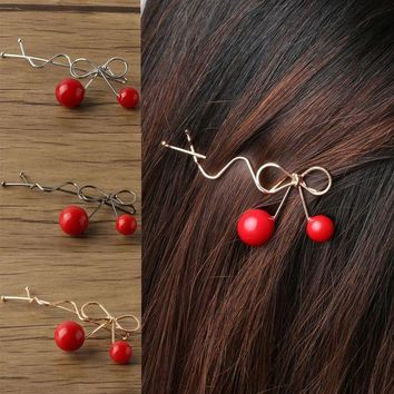 DKLW8 2 PCS Charming Women Girls Ladies Korean Red Cherry Shaped Bow Hairpin Twist Hair Clip Headdress Hair Accessories