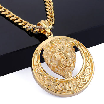 Davieslee Gold-color Round Lion Carved Celtic Knot Pendant 316L Stainless Steel Pendant Mens Boys Necklace DLHP96 DLHP97