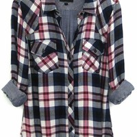 Rails Kendra Tencel Plaid Shirt in Navy/Magenta