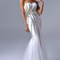Long Strapless Ivory Mermaid Gown