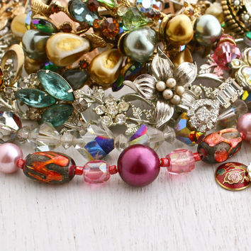 Vintage Broken Jewelry Lot - Colorful Earrings, Brooches, Necklaces, for Repair Repurpose / Over 12 Ounces of Supplies