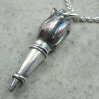 Torch Pendant in Fine Silver - Angry Mob Necklace - Fire Light - Olympic Flames - Archaeology - Villainous - Post Apocalyptic - 1-Off