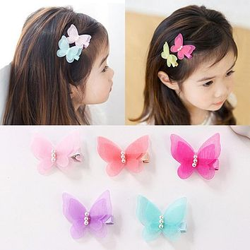 1PC Little Girl Barrettes Cute Colorful Butterfly Pearl Hair Clip Kids Gift Hairpins Children Headband Hair Accessories Headwear