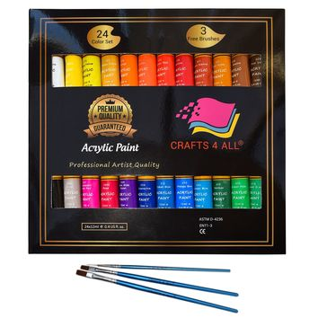 Acrylic paint Set 24 Colours by Crafts 4 ALL Perfect For Canvas Wood Ceramic Fabric. Non toxic & Vibrant Colors. Rich Pigments Lasting Quality For Beginners Students & Professional Artist