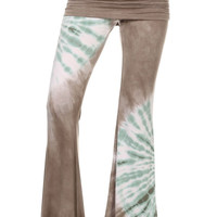 Womens Slate Gray & Mint Spiral Tie Dye Ruched Bell Bottoms Palazzo Pants PRE ORDER