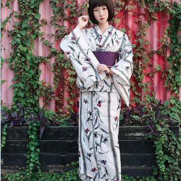 Asian Traditional Standard Kimono bathrobe Japanese fireworks kimono Pure Cotton Yukata With Obi Flower Vintage Evening Dress