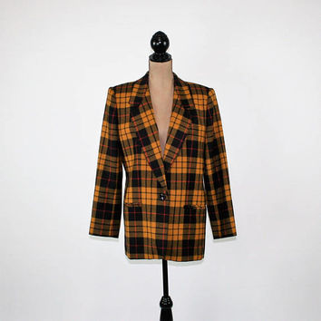 80s Plaid Blazer Fall Jacket Wool Blazer Women Large Gold Black and Tan Butterscotch Plaid Coat Size 12 Vintage Clothing Womens Clothing