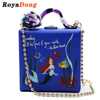 RoyaDong 2016 PU Women Bag Mermaid And Flowers Embroidery Shoulder Bag Fashion Flap Bag