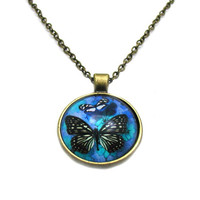 Blue Butterfly Necklace, Blue Butterfly Cabochon, Charm Necklace, Picture Necklace, Picture Jewelry, Photo Necklace, Butterfly Jewelry