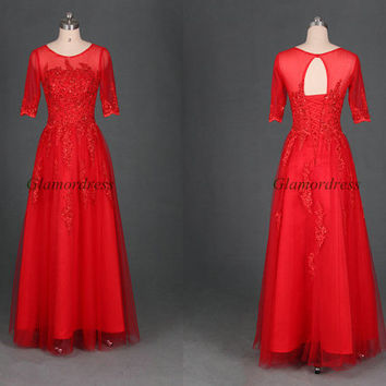 Long red tulle wedding gowns with applique lace,latest half sleeve dress for mother of the bride,unique cheap prom dresses hot.