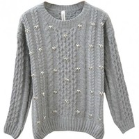 Nail Beads Cable-knit Pullover