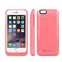 External Protective Battery Case for iphone 6(4.7), 3500mAh Extended Battery Case Back Up Power Bank for iPhone 6 Back Up (iOS 7 or above Compatible) , Lightning Charging Port, Kick Stand, Slim Fit Slider Design (pink)