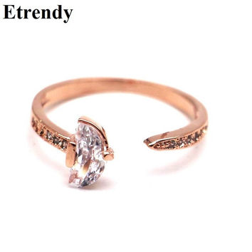 Simple Zircon Open Ring Resizable Women Bijoux Rose Gold Plated New Fashion Jewelry Cute Birthday Gift