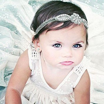 VONWZ7 Baby Infant Kids Hair Accessories Glittery Crystal Rhinestone Headband Baby Girl Hairband Head Wrap