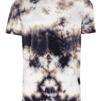 BLACK AND GREY TIEDYE OVERSIZE T-SHIRT - Printed T-Shirts - T-shirts & Vests - TOPMAN