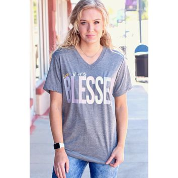 So Very Blessed V-neck Tee {Grey}