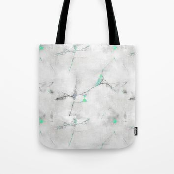 Green Cracked Design Tote Bag by CHIBIpoppedTheDinosaur