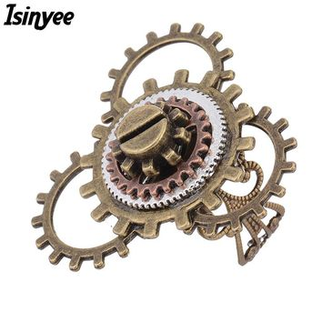 ISINYEE Fashion Alarm Clock Screw Adjustable Rings For Women Girls 2017 Vintage Retro Style Steel Steampunk Jewelry Bague Femme