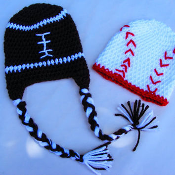 Sports Twin Set Football and Baseball 0-3 Month Crochet Baby Hats Boy Twin Set Optional Earflaps and Straps Sports Fan NFL MLB Inspired