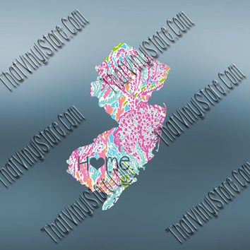 New Jersey Heart Home Decal | I Love New Jersey Decal | Homestate Decals | Love Sticker | Preppy State Sticker | Preppy State | 070