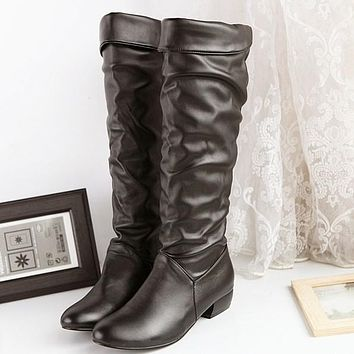 Round Toe Low Heeled Tall Boots for Women 5192